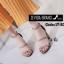 พร้อมส่ง รองเท้าส้นสูงรัดส้น ผ้าสักหราด สไตล์เกาหลี แฟชั่นเกาหลี [สีครีม ] thumbnail 2