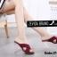 พร้อมส่ง รองเท้าส้นสูงแฟชั่นสีแดง ผ้าสักหราด ส้นแก้ว แฟชั่นเกาหลี [สีแดง ] thumbnail 2