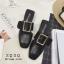 พร้อมส่ง รองเท้าส้นเตี้ยสีดำ แต่งหัวเข็มขัด แฟชั่นฮิตมากในเกาหลี แฟชั่นเกาหลี [สีดำ ] thumbnail 1