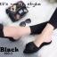พร้อมส่ง รองเท้าส้นเตี้ยเปิดส้นสีดำ หัวแหลม แต่งกุหลาบ แฟชั่นเกาหลี [สีดำ ] thumbnail 2