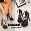 พร้อมส่ง รองเท้าส้นเข็มหุ้มส้นสีดำ สายคาดไขว้ สไตล์เกาหลี แฟชั่นเกาหลี [สีดำ ]