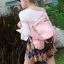กระเป๋าเป้ผู้หญิง กระเป๋าสะพายข้างแฟชั่น ปักลายวินเทจ สะพายข้างหรือสพายหลังก็ได้ [สีชมพู ] thumbnail 4