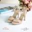 พร้อมส่ง รองเท้าส้นสูงรัดส้นสีครีม เปิดหน้าเท้า แฟชั่นเกาหลี แฟชั่นเกาหลี [สีครีม ] thumbnail 1