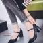 พร้อมส่ง รองเท้าคัทชูส้นตันรัดข้อสีดำ หัวตัด ผ้าสักหราด แฟชั่นเกาหลี [สีดำ ] thumbnail 3