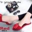 พร้อมส่ง รองเท้าส้นเตี้ยเปิดส้นสีแดง หัวแหลม แต่งกุหลาบ แฟชั่นเกาหลี [สีแดง ] thumbnail 2