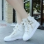 พร้อมส่ง รองเท้าผ้าใบหุ้มข้อสีขาว สริมส้น ผ้าแคนวาส แฟชั่นเกาหลี [สีขาว ] thumbnail 1