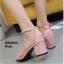 รองเท้าส้นตันรัดส้น เพิ่มสายรัดข้อเท้า [สีชมพู ] thumbnail 2