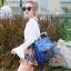 กระเป๋าเป้ผู้หญิง กระเป๋าสะพายข้างแฟชั่น ปักลายวินเทจ สะพายข้างหรือสพายหลังก็ได้ [สีน้ำเงิน ] thumbnail 2