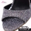พร้อมส่ง รองเท้าส้นตันรัดข้อเท้าสีดำ ผ้ากลิตเตอร์ ส้นแก้ว แฟชั่นเกาหลี [สีดำ ] thumbnail 4