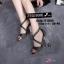 พร้อมส่ง รองเท้าส้นตันรัดข้อเท้าสีดำ ผ้ากลิตเตอร์ ส้นแก้ว แฟชั่นเกาหลี [สีดำ ] thumbnail 1