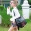 กระเป๋าเป้ผู้หญิง กระเป๋าสะพายข้างแฟชั่น ปักลายวินเทจ สะพายข้างหรือสพายหลังก็ได้ [สีดำ ] thumbnail 1