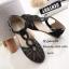 พร้อมส่ง รองเท้าส้นแบนสีดำ หุ้มส้น หนังนิ่มฉลุลาย แฟชั่นเกาหลี [สีดำ ] thumbnail 2