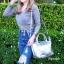 กระเป๋าสะพายแฟชั่น กระเป๋าสะพายข้างผู้หญิง ลองชอมหนัง Style [สีเงิน ] thumbnail 1