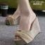 พร้อมส่ง รองเท้าส้นเตารีดสีเหลือง ผ้าปอกระเจา ประดับโบว์ แฟชั่นเกาหลี [สีเหลือง ] thumbnail 4