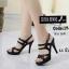 พร้อมส่ง รองเท้าส้นสูงรัดส้นสีดำ พียูนิ่ม สายคาดสองตอน แฟชั่นเกาหลี [สีดำ ] thumbnail 1