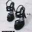 พร้อมส่ง รองเท้าส้นสูงรัดส้นสีดำ พียูนิ่ม สายคาดสองตอน แฟชั่นเกาหลี [สีดำ ] thumbnail 5