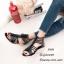 พร้อมส่ง รองเท้าแตะผู้หญิง หนังนิ่ม สไตล์แกลดิเอเตอร์ แต่งซิปหลัง แฟชั่นเกาหลี [สีดำ ] thumbnail 2