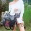กระเป๋าเป้ผู้หญิง กระเป๋าสะพายข้างแฟชั่น ปักลายวินเทจ สะพายข้างหรือสพายหลังก็ได้ [สีดำ ] thumbnail 2