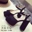 พร้อมส่ง รองเท้าส้นตันรัดส้นสีดำ ผ้าสักหราด แมทส์กับชุดได้ง่าย แฟชั่นเกาหลี [สีดำ ] thumbnail 2