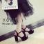 พร้อมส่ง รองเท้าส้นตันรัดส้นสีดำ ผ้าสักหราด แมทส์กับชุดได้ง่าย แฟชั่นเกาหลี [สีดำ ] thumbnail 3