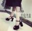 พร้อมส่ง รองเท้าส้นตันรัดส้นสีดำ ผ้าสักหราด แมทส์กับชุดได้ง่าย แฟชั่นเกาหลี [สีดำ ] thumbnail 4