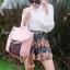 กระเป๋าเป้ผู้หญิง กระเป๋าสะพายข้างแฟชั่น ปักลายวินเทจ สะพายข้างหรือสพายหลังก็ได้ [สีชมพู ] thumbnail 1