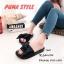 พร้อมส่ง รองเท้าแตะผู้หญิง แบบสวม ผ้าซาติน แต่งโบว์ แฟชั่นเกาหลี [สีดำ ] thumbnail 1