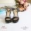 พร้อมส่ง รองเท้าส้นสูงรัดส้นสีดำ เปิดหน้าเท้า แฟชั่นเกาหลี แฟชั่นเกาหลี [สีดำ ] thumbnail 3