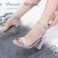 พร้อมส่ง รองเท้าส้นสูงรัดข้อสีเทา ผ้าสักหราด สไตล์ ZARA แฟชั่นเกาหลี [สีเทา ] thumbnail 2