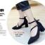 พร้อมส่ง รองเท้าคัทชูส้นสูงรัดข้อสีดำ หัวแหลม ผ้าสักหราด แฟชั่นเกาหลี [สีดำ ] thumbnail 2