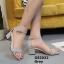 รองเท้าส้นตันรัดส้น เพิ่มสายรัดข้อเท้า [สีเทา ]