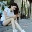 พร้อมส่ง รองเท้าผ้าใบหุ้มข้อสีขาว สริมส้น ผ้าแคนวาส แฟชั่นเกาหลี [สีขาว ] thumbnail 3