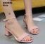 รองเท้าส้นตันรัดส้น เพิ่มสายรัดข้อเท้า [สีชมพู ]