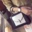 กระเป๋าสะพายแฟชั่น กระเป๋าสะพายข้างผู้หญิง 2tone วัสดุหนังPUหนาอย่างดี [สีดำ ] thumbnail 2