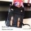 กระเป๋าเป้ผู้หญิง กระเป๋าสะพายข้างแฟชั่น แต่งหูหนังพียูเข็มขัดสอด [สีดำ ] thumbnail 1