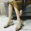 พร้อมส่ง รองเท้าส้นตันเปิดส้นสีครีม สายคาดไขว้ ผ้าสักหราด แฟชั่นเกาหลี [สีครีม ]