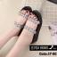 พร้อมส่ง รองเท้าแตะผู้หญิงสีเงิน แบบสวม สายคาดสองตอน แฟชั่นเกาหลี [สีเงิน ] thumbnail 1
