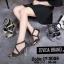 พร้อมส่ง รองเท้าส้นตันรัดข้อเท้าสีดำ ผ้ากลิตเตอร์ ส้นแก้ว แฟชั่นเกาหลี [สีดำ ] thumbnail 2