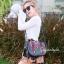 กระเป๋าสะพายแฟชั่น กระเป๋าสะพายข้างผู้หญิง วินเทจ(สะพายข้างลายปัก) [สีดำ] thumbnail 2