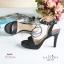 พร้อมส่ง รองเท้าส้นสูงรัดส้นสีดำ เปิดหน้าเท้า แฟชั่นเกาหลี แฟชั่นเกาหลี [สีดำ ] thumbnail 4