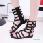 พร้อมส่ง รองเท้าแตะส้นเตี้ยสีดำ หนังนิ่ม สไตล์ Gladiater Sandals แฟชั่นเกาหลี [สีดำ ] thumbnail 2