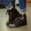 พร้อมส่ง รองเท้าผ้าใบหุ้มข้อสีดำ สริมส้น ผ้าแคนวาส แฟชั่นเกาหลี [สีดำ ] thumbnail 2