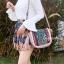 กระเป๋าสะพายแฟชั่น กระเป๋าสะพายข้างผู้หญิง วินเทจ(สะพายข้างลายปัก) [สีชมพู]