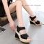 พร้อมส่ง รองเท้าส้นเตารีด รัดส้น ผ้าลูกไม้ สไตล์เกาหลี แฟชั่นเกาหลี [สีดำ ] thumbnail 3