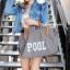 กระเป๋าผ้าแฟชั่น กระเป๋าสะพายข้างผู้หญิง สกรีนอักษร POOL ไซดใหญ่จุใจ [สีเทา] thumbnail 3