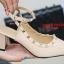 รองเท้าส้นตันรัดส้น หัวแหลม Chunky Style valentino [สีแอปริคอท ] thumbnail 2