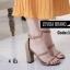 พร้อมส่ง รองเท้าส้นสูงรัดส้น ผ้าสักหราด สไตล์เกาหลี แฟชั่นเกาหลี [สีครีม ] thumbnail 3
