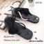พร้อมส่ง รองเท้าแตะผู้หญิงสีดำ แบบคีบ แต่งโบว์ประดับมุก แฟชั่นเกาหลี [สีดำ ] thumbnail 3