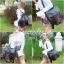 กระเป๋าเป้ผู้หญิง กระเป๋าสะพายข้างแฟชั่น ปักลายวินเทจ สะพายข้างหรือสพายหลังก็ได้ [สีดำ ] thumbnail 5