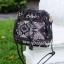 กระเป๋าสะพายแฟชั่น กระเป๋าสะพายข้างผู้หญิง ทรงขนมจีบ ปักลายวินเทจ [สีดำ ] thumbnail 4